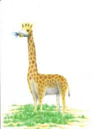 Uma girafa com uma mordaça na boca indicando que a girafa não fala.