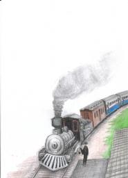 Uma maria fumaça aproxima-se da plataforma da estação, onde um funcionário entrega ao maquinista uma autorização de tráfego.