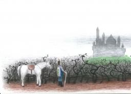 Um cavaleiro se aproxima de um misterioso castelo rodeado por uma floresta de espinhos.