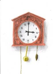 Um relógio cuco de madeira, com seu pêndulo e sua corda.