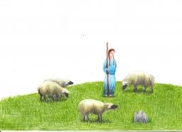 No alto de uma montanha, uma pastora cuida do seu rebanho.